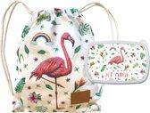 Kids school set flamingo - rugzak en lunchbox - gym zwemmen pauze - stevig canvas - gepersonaliseerd - handgeschilderd door Mies met aquarel