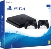 Sony PlayStation 4 Slim 1TB + 2 Dualshock controllers 4 V2 (Import)