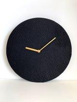 Lederen wandklok 30 cm | zwart leder | Unieke klok