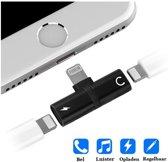 Audio Splitter Adapter - 2 Lightning Poorten - 2 in 1 Lightning Splitter - Audio & Opladen - Voor iPhone 7/ 7+/ 8/ 8+/ X/ XR/ XS/ XS MAX/ iPad Pro/ iPad Air/ iPad 2018/ iPad Mini 4 - Zwart