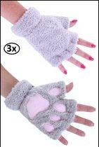 3x Vingerloze handschoenen pluche dierenpootje grijs