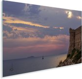 Stadsmuren bij zonsondergang Dubrovnik Plexiglas 120x80 cm - Foto print op Glas (Plexiglas wanddecoratie)
