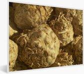 Foto in lijst - Hoopje gele knolselderij fotolijst wit 40x30 cm - Poster in lijst (Wanddecoratie woonkamer / slaapkamer)