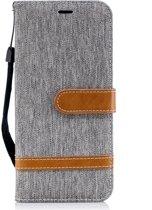 Denim Book Case Samsung Galaxy J6 (2018) Hoesje - Grijs