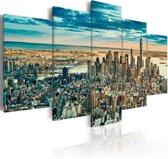 Schilderij - New York Droom Stad , 5 luik