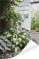Hartlelies in een verlichte tuin Poster 120x180 cm - Foto print op Poster (wanddecoratie woonkamer / slaapkamer) XXL / Groot formaat!