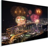 Vuurwerk boven de Zuid-Koreaanse stad Busan Plexiglas 30x20 cm - klein - Foto print op Glas (Plexiglas wanddecoratie)