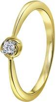 Lucardi Ringen  - 14 Karaat geelgouden ring met diamant