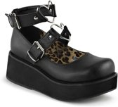 Sprite-02 shoe with ankle straps, buckles and metal heart rings matt black - (EU 40 = US 10) - Demonia