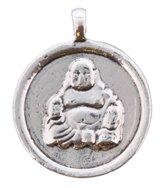 Munt / Hanger met Boeddha - Ø 3 cm - Zilverkleurig - Musthaves
