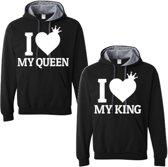 King & Queen hoodies | hippe valentijn sweater | set van twee