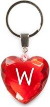 sleutelhanger - Letter W - diamant hartvormig rood