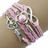 Fako Bijoux® - Multi Armband - Infinity Hart Cupido - Roze