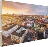 Uitzicht over Kopenhagen Hout 80x60 cm - Foto print op Hout (Wanddecoratie)