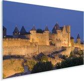 Kasteelmuren bij Carcassonne in Frankrijk verlicht in de nacht Plexiglas 180x120 cm - Foto print op Glas (Plexiglas wanddecoratie) XXL / Groot formaat!