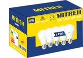Pak Van 5 LED 6W (gelijk is aan 60W gloeilamp) A60 Bulb E27 warm wit 3000K [Energy Class A+]