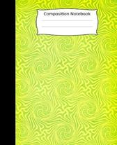 Composition Notebook: Green - Yellow Spiral Design Cover. College Ruled 100 lined pages Convenient for writing in.