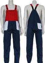 Yoworkwear Tuinbroek polyester/katoen navy-wit-rood maat 152