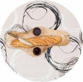 MixMamas Rond Tafelkleed Gecoat - Ø 140 cm - Painted Circles - Beige/Zwart