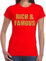 Rich and Famous gouden glitter tekst t-shirt rood dames - dames shirt Rich and Famous L