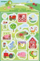 Unique Stickervellen Farm Party Multicolor 35,5 Cm 4 Stuks