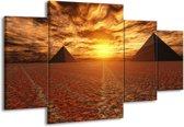 Canvas schilderij Zonsondergang | Geel, Oranje, Grijs | 160x90cm 4Luik