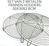 Twee pannenhouders om uw tafelblad of keukenblad te beschermen tegen hete potten en pannen. Pannenlap, hittebeschermer, set van 2 stuks, 30 x 30 x 2,8 cm.