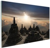 Borobudur bij zonsondergang Indonesie Glas 90x60 cm - Foto print op Glas (Plexiglas wanddecoratie)