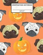 Composition Notebook: White Brown Pug Dog Halloween Pumpkin Jack O Lantern, Wide Ruled paper Notebook, Notes Taking, Basic Lines Journal,8.5