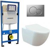 Geberit UP 320 Toiletset - Inbouw WC Hangtoilet Wandcloset - Creavit Mat Wit Geberit Sigma-01 Mat Chroom
