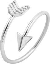 Mooie open ring pijl - bohemian style - verstelbaar - zilverkleurig
