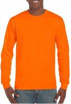 Heren t-shirt lange mouw fluor oranje S