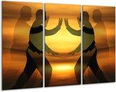 Canvas schilderij Mensen | Geel, Zwart | 120x80cm 3Luik
