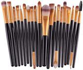 Evvie 20-delige make-up kwasten set - voor oogschaduw, lippenstift, concealer en foundation - zw/gd