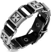 Amanto Armband Feder Black - Heren - Leer - Studs - Kruis - 20 mm - Aanpasbaar (max. 22 cm)