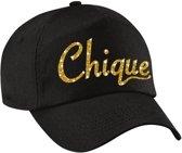 Chique pet  / cap zwart met goud bedrukking volwassenen - glitter and glamour cap