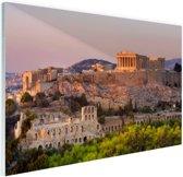 De Akropolis van Athene Glas 90x60 cm - Foto print op Glas (Plexiglas wanddecoratie)