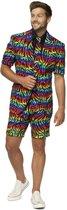 Zomer heren festival kostuum Summer Wild Rainbow zebra regenboog - Opposuits pak - Verkleedkleding/Carnavalskleding 50 (L)