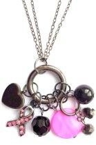 Jewellicious Designs Antra & Pink Beauty multi ketting voor Pink Ribbon - 7 hangers - clip sluiting - antraciet roze