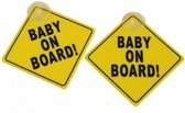 Baby On Board Bord Met Zuignap - 2 Stuks - Baby Aan Boord Auto Sticker Alternatief