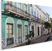 Kleurrijke huizen in het Zuid-Amerikaanse Montevideo Plexiglas 180x120 cm - Foto print op Glas (Plexiglas wanddecoratie) XXL / Groot formaat!
