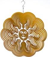 Spin Art Windspinner Zon - 15cm rond - goudkleurig