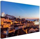 Zonsopgang Lissabon Canvas 30x20 cm - klein - Foto print op Canvas schilderij (Wanddecoratie woonkamer / slaapkamer) / Steden Canvas Schilderijen