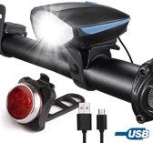 O'rretti USB Herlaadbaar fietslicht set - UltraHelder Voorlicht met luide Fietshoorn 120DB Incl Achterlicht - Waterdicht - 3 Verlichtingsmodi