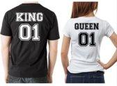 Valentijn T-shirts | King & Queen | set van twee | kies zelf uw maat