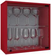 Wijnkast vitrinekastje Weino V modulair samen te stellen rood