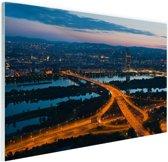 Wenen bij nacht Glas 180x120 cm / XXL / Grote Poster - Wanddecoratie cm - Foto print op Glas (Plexiglas wanddecoratie) cm - Foto print op Poster (wanddecoratie) / Steden Poster