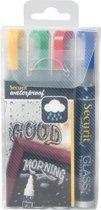 4x Securit Waterproof krijtmarker medium, blister met 4 stuks in geassorteerde kleuren
