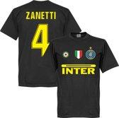 Inter Milan Zanetti 4 Team T-Shirt - Zwart