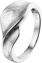 The Jewelry Collection Ring Gescratcht Poli/mat - Zilver Gerhodineerd